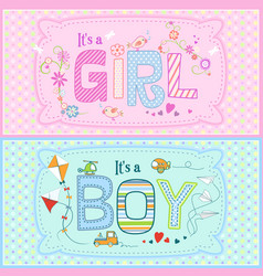 Baby shower - two cute cards for boy and girl vector