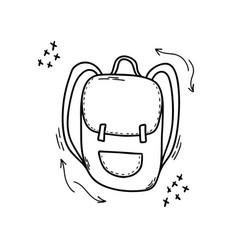 Backpack in doodle style isolated on a white vector