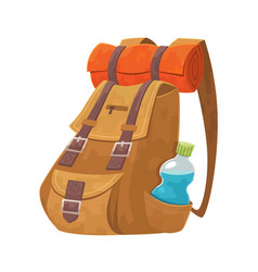 backpack with bottle water and camping carpet vector image