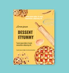 Bakery poster template bread and bun collection vector
