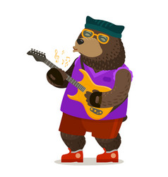 Bear playing electric guitar music rock and roll vector