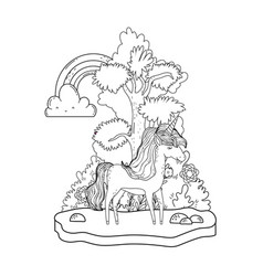 beautiful little unicorn with rainbow in the vector image