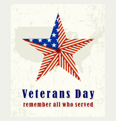 beautiful vintage poster for veterans day with vector image