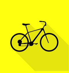 bicycle bike sign black icon with flat style vector image