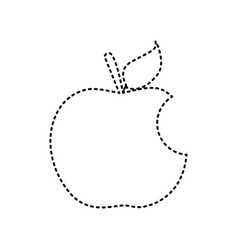 bite apple sign black dashed icon on vector image