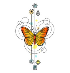 Butterfly Watercolor Tattoo vector