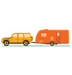 car and trailers caravan vector image