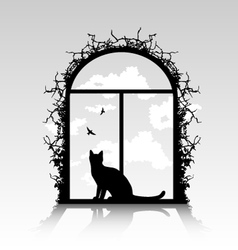 Cat silhouette in the window vector