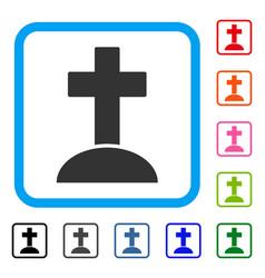 cemetery cross framed icon vector image