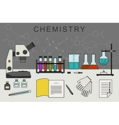 Chemistry banner with chemical equipment vector image