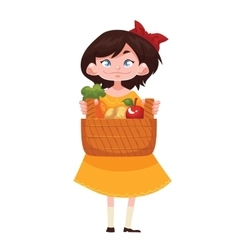 Child holding baskets of fruits and vegetable vector