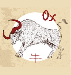 Chinese zodiac symbol of etching ox vector