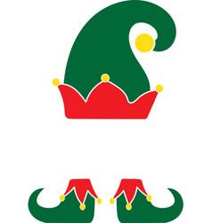 Christmas elf green hat christmas elf isolated on vector