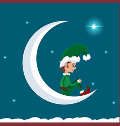 christmas elf on the moon resting vector image