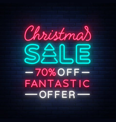 Christmas sale card template in neon style vector