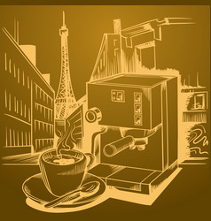 Coffee theme sketch pictures vector