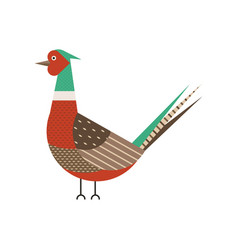 Common pheasant bird geometric icon in flat vector