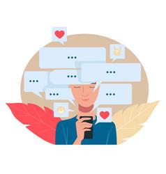 communication in internet social media network vector image