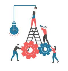 creative idea and teamwork concept vector image