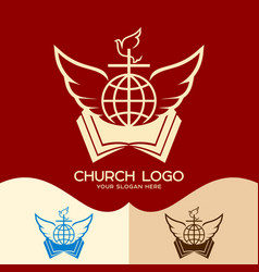 cross open bible globe dove and angel wings vector image