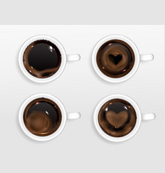 cups coffee with heart shape from cream foam vector image