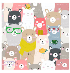 cute baby colorful teddy bear seamless pattern vector image