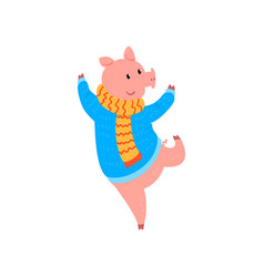 cute little pig character dressed in warm sweater vector image