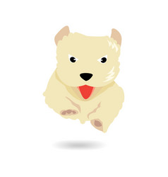 Cute yellow dog jumping and flying over floor vector