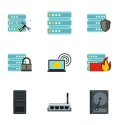 Data icons set flat style vector
