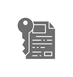 document with key certificate safe paper grey vector image