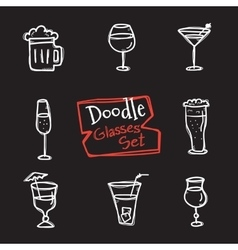 doodle style glasses icons set Hand drawn vector image