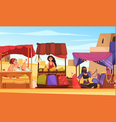 Eastern souk cartoon background vector