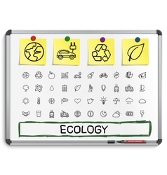 Ecology hand drawing line icons vector image