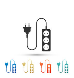 Electric extension cord icon power plug socket vector