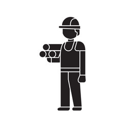 engineer with plans black concept icon vector image