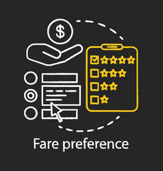Fare preference chalk icon payment for public vector