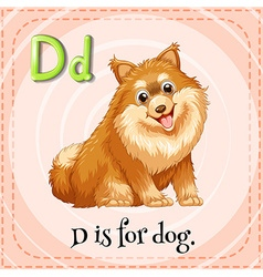 Flashcard letter D is for dog vector