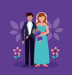 flat design wedding people image vector image