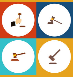 flat icon court set of law hammer court and vector image