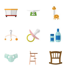 flat icon kid set of mobile nappy playground and vector image