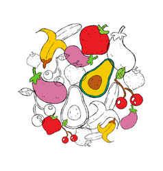 food concept hand drawn fruit and vegetables vector image
