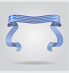 greek flag wavy ribbon background vector image