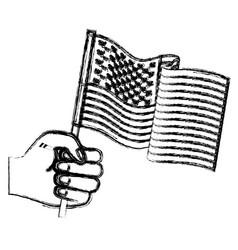 hand holding united states waving flag monochrome vector image