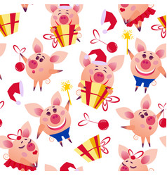 Happy christmas pigs seamless pattern vector