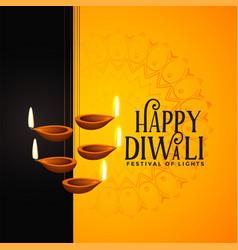 Happy diwali festival background with diya vector