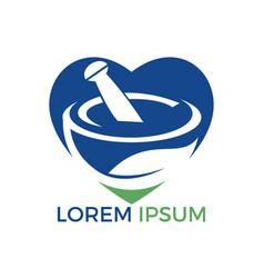 Heart shape pharmacy medical logo design vector