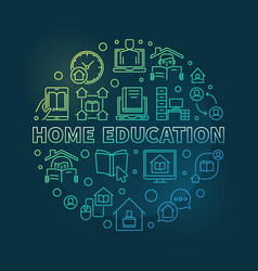 home education round colorful outline vector image