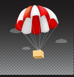 Icon of package flying on red parachute on a vector