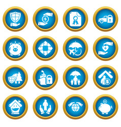 insurance icons set simple style vector image