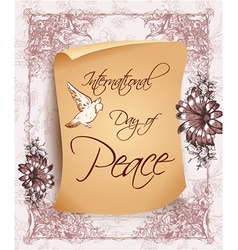 International Day of Peace with old paper vector